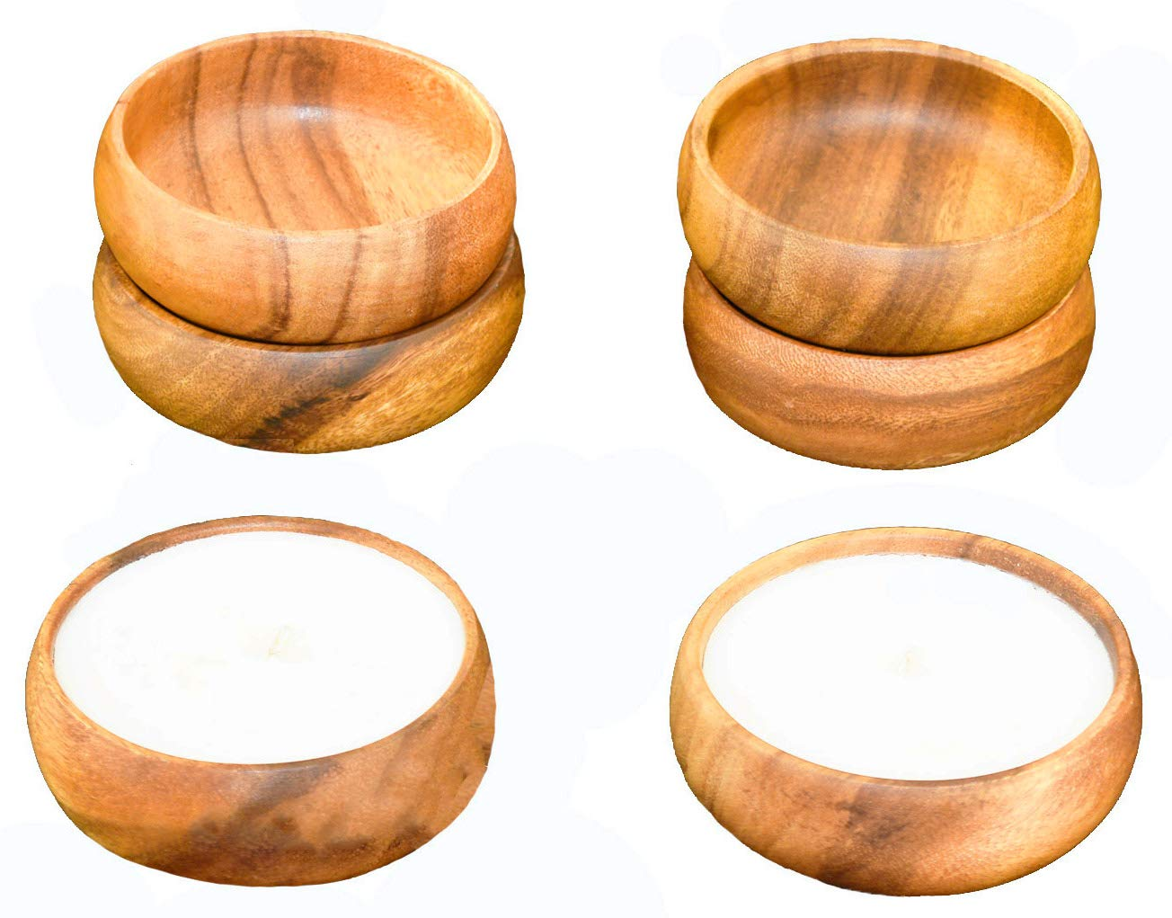 (2) White Hawaiian Acaciaware Acacia Wood, Unscented Natural Soy Candles and (4) 4-inch by 1.5-inch Dipping, Sauce and Nut Bowls
