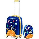 "Goplus Kids Luggage Set, 12"" & 18"" Kids Carry On Luggage Set, Multi-directional Wheels Suitcase, Large Capacity Rolling Troll"