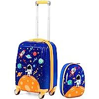 """Goplus Kids Luggage Set, 12"""" & 18"""" Kids Carry On Luggage Set, Multi-directional Wheels Suitcase, Large Capacity Rolling…"""