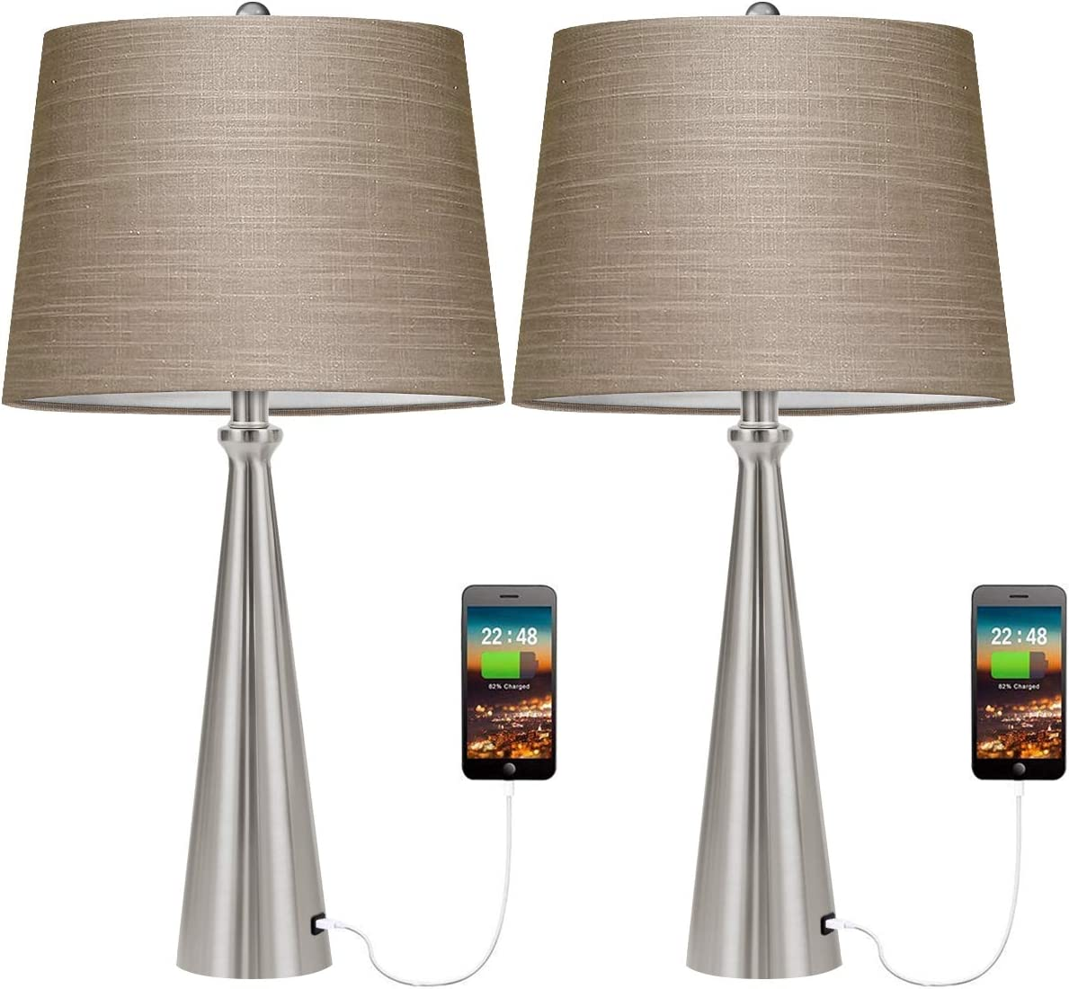 Oneach Modern USB Table Lamp Set of 3 for Living Room Bedroom Bedside  Nightstand Lamps Fabric Shade Accent Light Silver