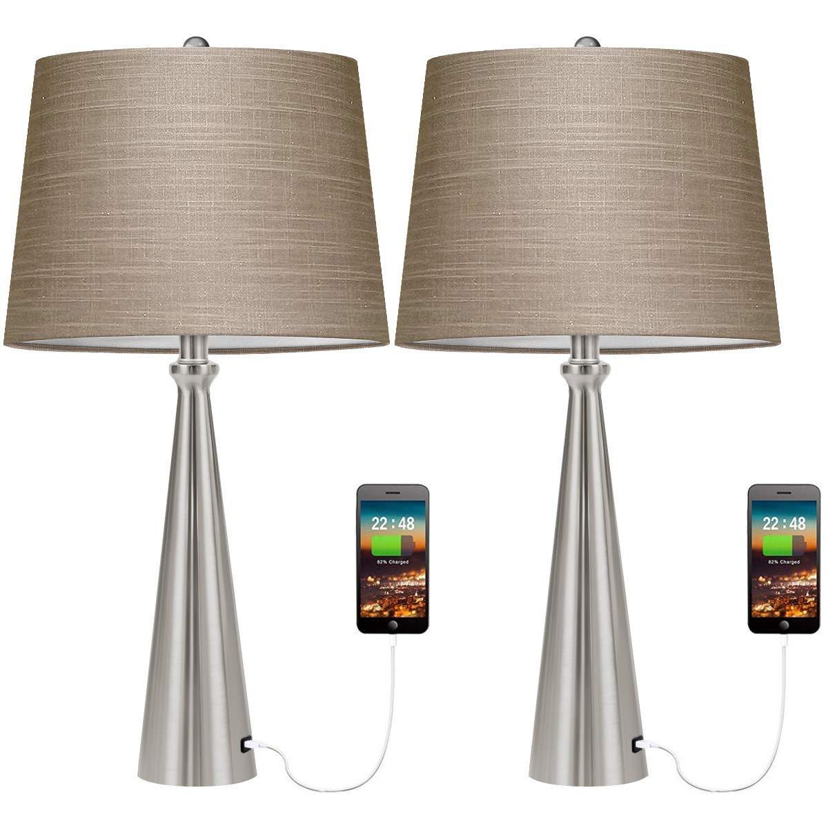 Oneach Modern USB Table Lamp Set of 2 for Living Room Bedroom Bedside Nightstand Lamps Fabric Shade Accent Light Silver