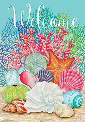 Custom Decor Coral and Seashells - Garden Size, 12 Inch X 18 Inch, Decorative Double Sided Licensed, Trademarked and Copyrighted Flag Printed in USA Inc.