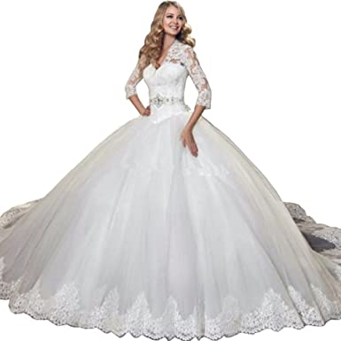 Kimbridal Vintage 3 4 Sleeves Lace Ball Gown Wedding Dresses For Brides 2017