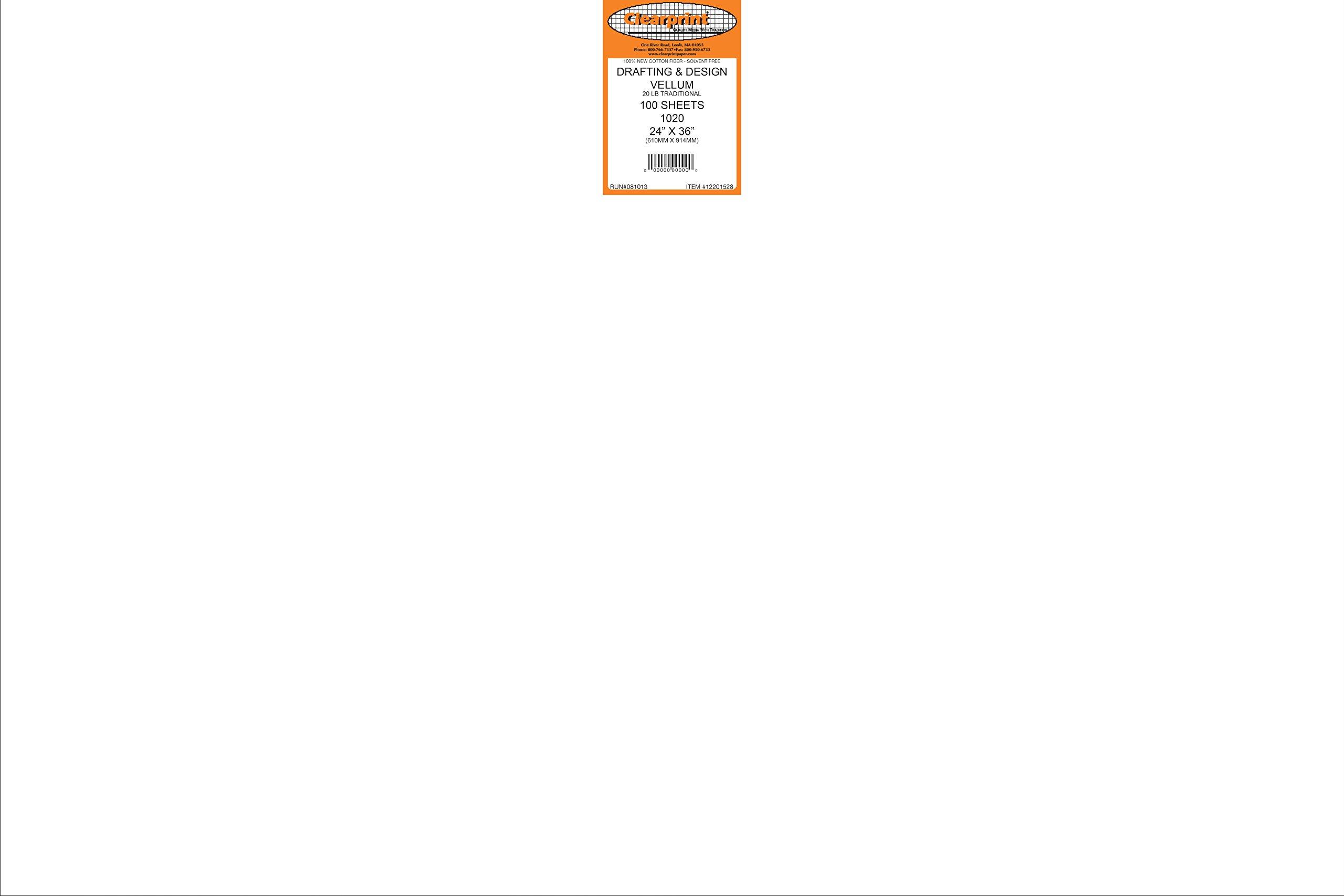 Clearprint 1020H Design Vellum Sheets, 20 lb., 100% Cotton, 24 x 36 Inches, 100 Sheets Per Pack, Translucent White, 1 Each (12201528)