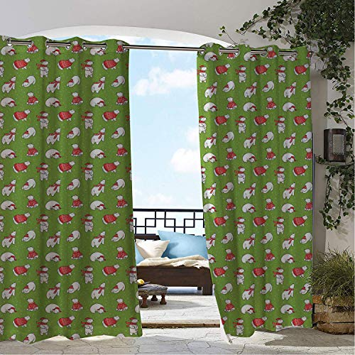 Balcony Waterproof Curtains Christmas Polar Bears in Sweaters Funny Animal Lover Theme Winter Elements Vermilion Apple Green White doorways Grommet Party Curtains 108 by 108 inch
