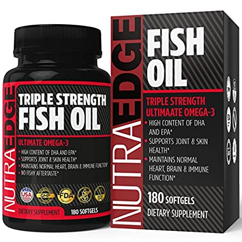 NutraEdge Omega 3 Fish Oil Triple Strength 3000mg, 180 Softgels