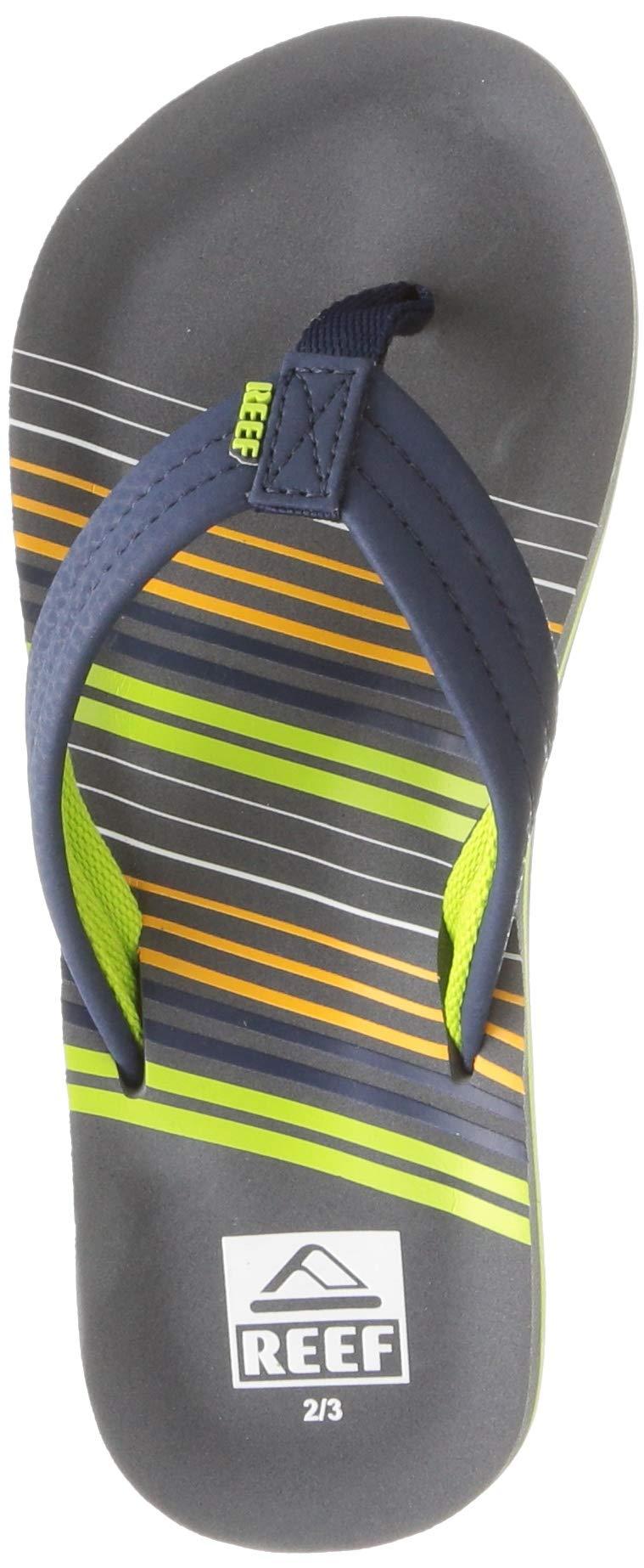 Reef Boys AHI Sandal, Stripe Green, 4-5 Medium US Big Kid