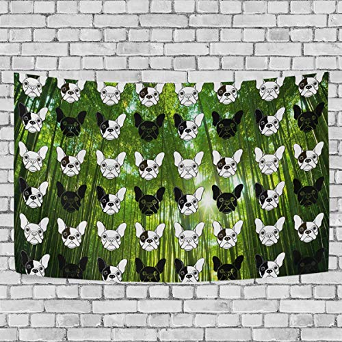 Huangwei French Bulldog Face Bamboo Forest Sunshine Tapestry Wall Hanging Tapestries Wall Blanket Wall Art Decor ()