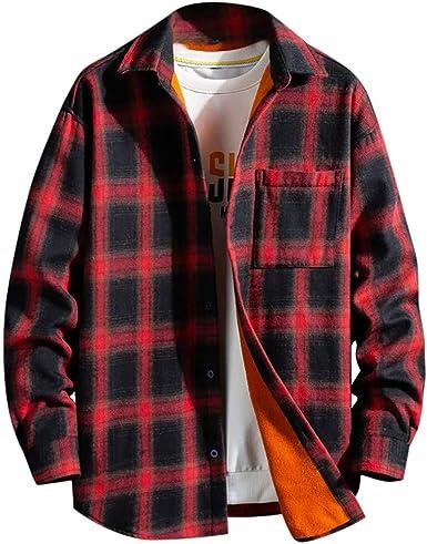 Camisa Hombre Invierno Cuadros, Camisa A Cuadros Gruesa Y De Cachemira para Hombres Blusa De Manga Larga De Moda: Amazon.es: Ropa y accesorios