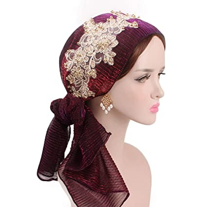 Lergo Mujeres Musulmana Floral Bufanda Sombrero Elástico Turban Larga Cola Headwear Cáncer Chemo Cap, DP