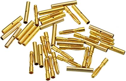 10 Pairs of 2.0mm Metal Banana Plug Durable Male and Female Bullet Connectors