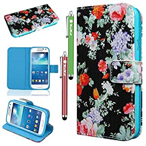 MaxMall Black Flowers PU Leather Stand Card Wallet Case Cover for Samsung Galaxy SIV Mini I9190