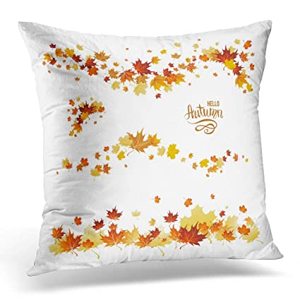 Sdamase Throw Pillow Cover Orange Leaf Autumn Leaves Borders Nature Design  Fall Maple For Red Foliage