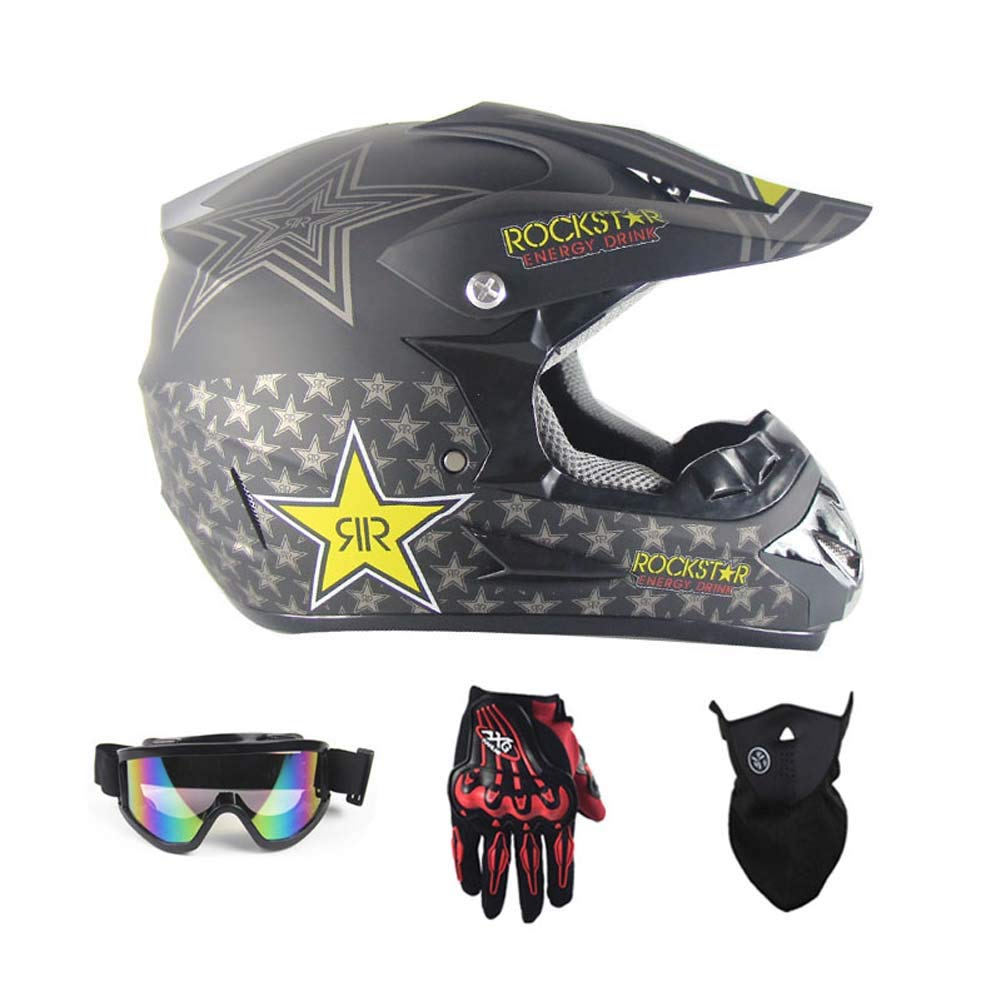 MRXUE Off-Road Anti-Collision Motorbike Helmet, Full Face Helmet Off-Road Anti-Collision Helmet Kit Adult Highway Helmet Give Goggles Bicycle Gloves Dust Mask Star,L(57~58Cm)