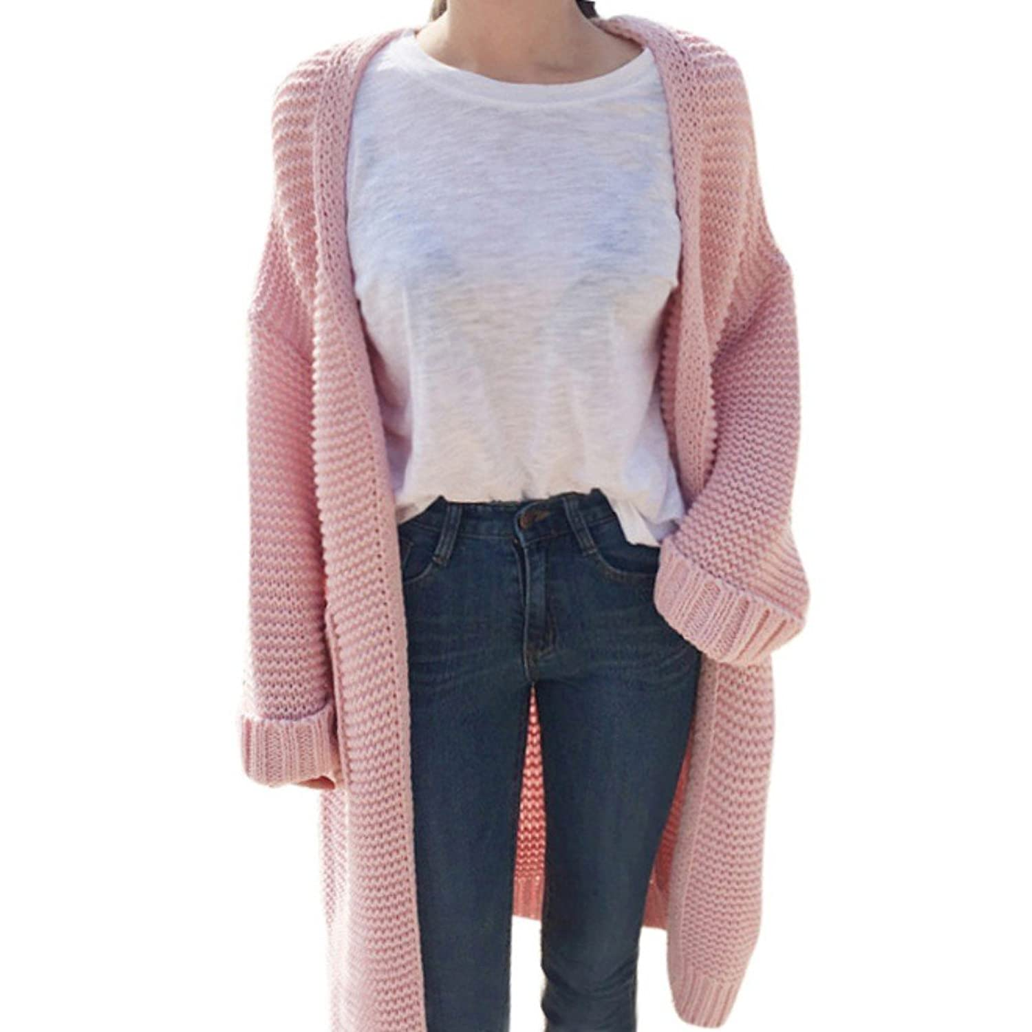 LEEZO Women Winter Knee-Length Cardigan Loose Thick Knitted Female Sweaters Coat