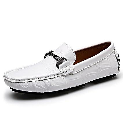 Jiuyue-shoes Conducción de Cuero Genuino de los Hombres Mocasines Penny Mocasines Crocodile Textura Mocasines
