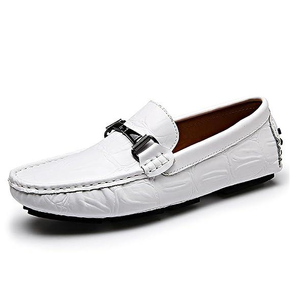 Sunny&Baby Mocasines Penny Casual de los Hombres de Piel de cocodrilo Textura de Cuero Genuino Conducción Zapatos Loafer Antideslizante (Color : Blanco, ...