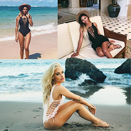 Lady exy Monikini One Piece Bikini Swimsuit Summer Beach Wear Black,L by UPS by CFR (Image #7)