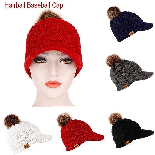 805ffce9fda Outsta Hat Cap Adult Women Men Winter Crochet Hat Knit Hat Baseball Cap  Hairball Warm Cap Warm Cap Warm Hat at Amazon Women s Clothing store