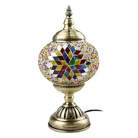 Lámpara de mesa hecha a mano con mosaico, estilo turco, E27 ...