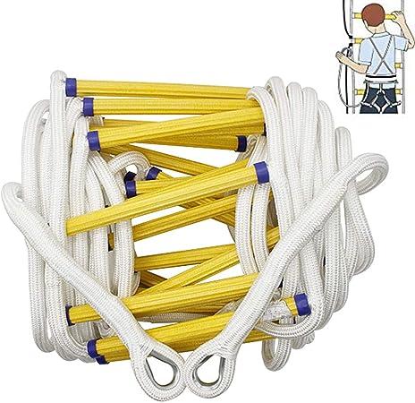 Escalera Plegable Telescopica 5-20 Metros - Portátil Escalera Cuerda Escalada de Emergencia con Ganchos - Resistente Llamas - Capacidad de 300 Kg,Without Body Harness,5 m: Amazon.es: Hogar