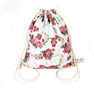 70%OFF Panda Superstore Unisex Travel Sports Drawstring Bags Canvas Backpacks Peony Style
