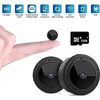 Mini WiFi Cámara Espía,1080P HD Mini WiFi Cámara Oculta Portátil Interior Visión Nocturna por Infrar Rojos Vigilancia Movimiento de iPhone/Android Phone/iPad/PC (con Tarjeta de 32G TF)