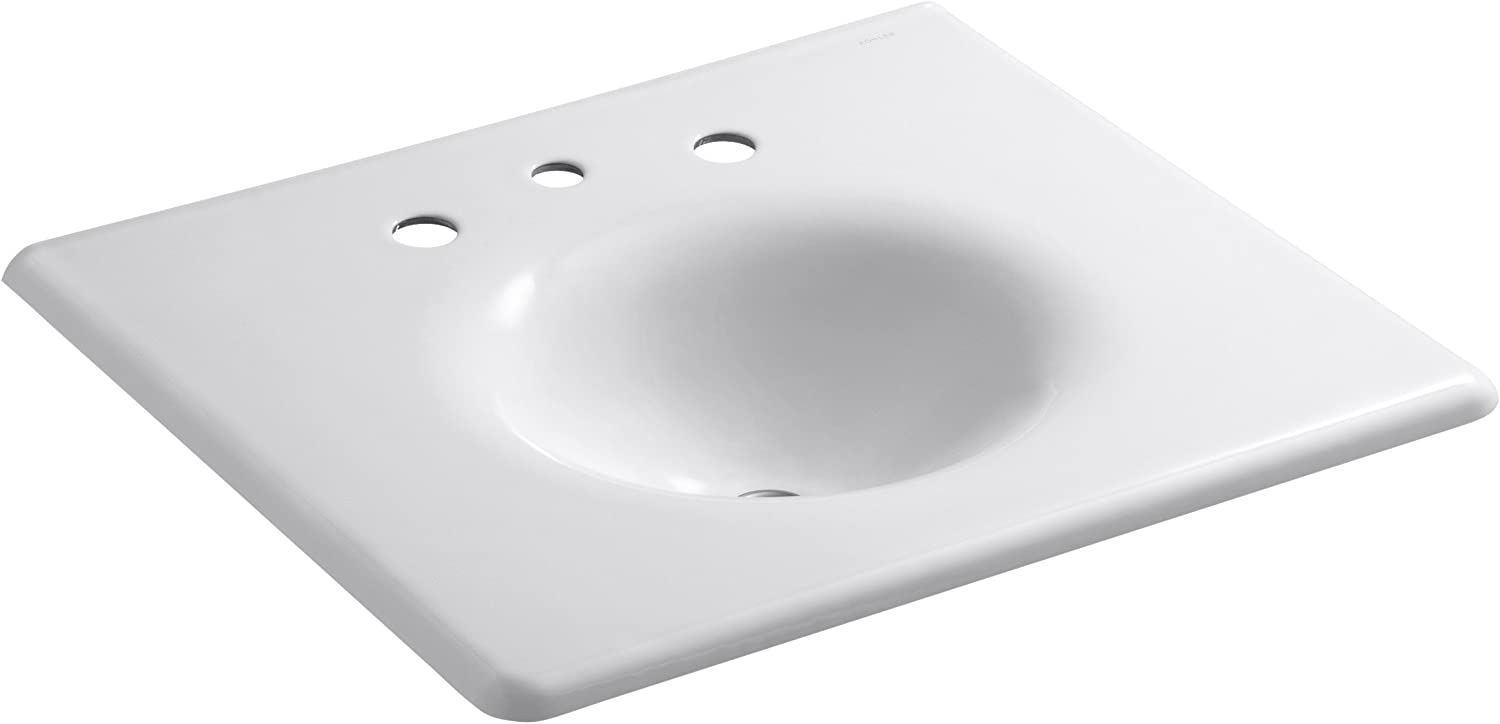 KOHLER K-3048-8-0 Iron Impressions 25-Inch Cast Iron One-Piece Surface and Integrated Bathroom Sink, White