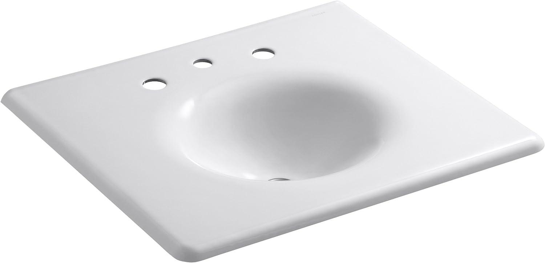 KOHLER K-2196-4-7 Pennington Self-Rimming Bathroom Sink, Black Black