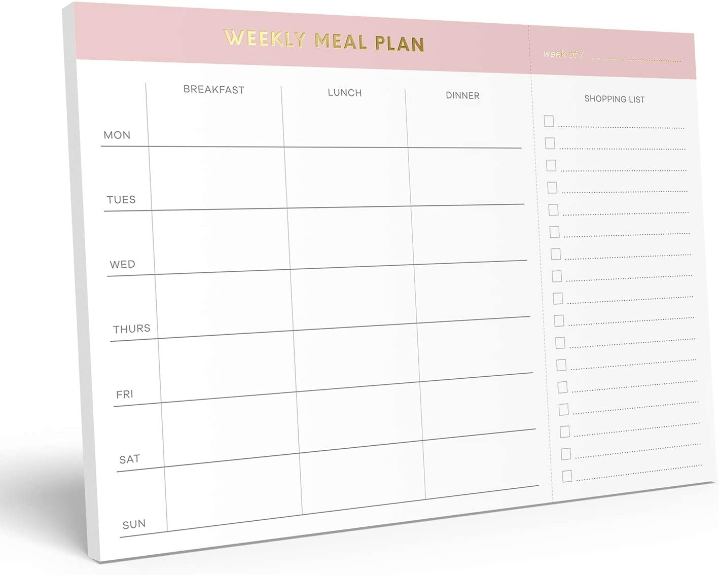 "Sweetzer & Orange Weekly Meal Planner and Grocery List Magnetic Notepad. Pink 10x7"" Meal Planning Pad with Tear Off Shopping List. Plan Weekly Menu Food for Weight Loss or Dinner List for Family!"