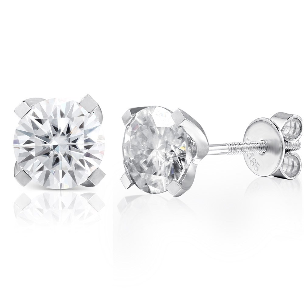 14K White Gold 2.0ctw 6.5mm Lab Grown Moissanite Diamond Stud Earrings 4 Prong Screw Back for Women (GH)