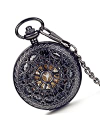 Lancardo Carving Web Skeleton Dial Case Fob Mechanical Watch With Chain Transparent Cover(Black )