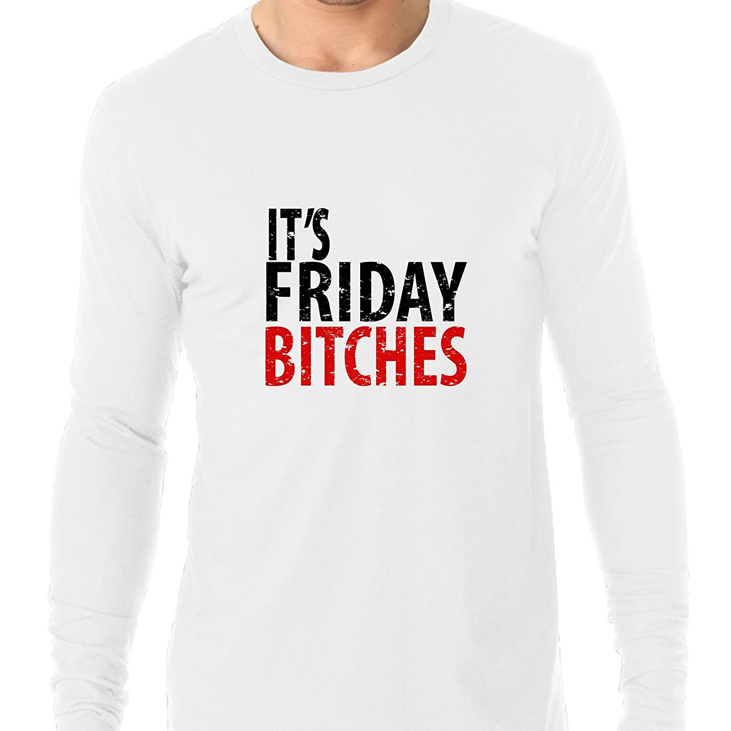 8a97e59fb1f2ba Amazon.com: It's Friday Bitches - Celebrate The Weekend In Red & Black  Men's Long Sleeve T-Shirt: Clothing