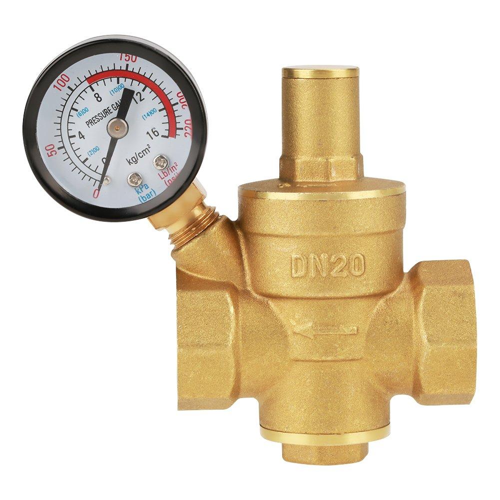 Pressure Reducing Valve, DN20 G3/4inch Brass Water Pressure Reducing Valve 3/4'' Adjustable Water Control Pressure Regulator Valve Thread with Gauge Meter 1.6MPa
