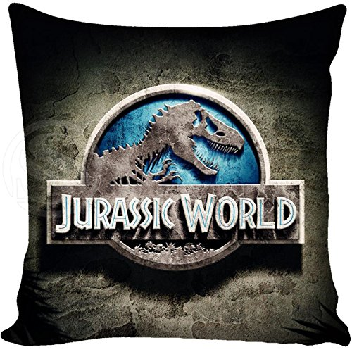 13.7 X 13.7 inches Blue Jurassic Park Decorative Pillowcase, Light Grey Dinosaur Throw Pillow Cover Jurassic World T Rex Cushion Cover Adventure Movie Themed Animal Print Zippered Plain, Polyester