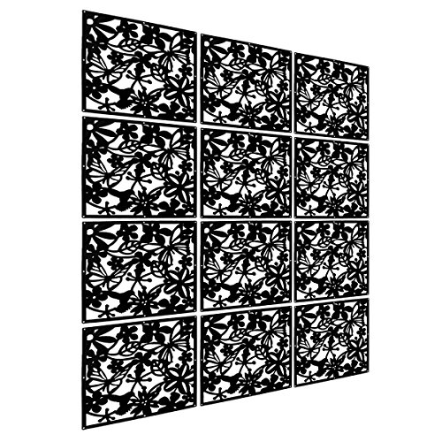 (LRZCGB Hanging Room Divider,12pcs Safety PVC Screen Panel with Butterfly Flower for Decorating Living, Dining, Study and Sitting-room, Hotel, Bar)