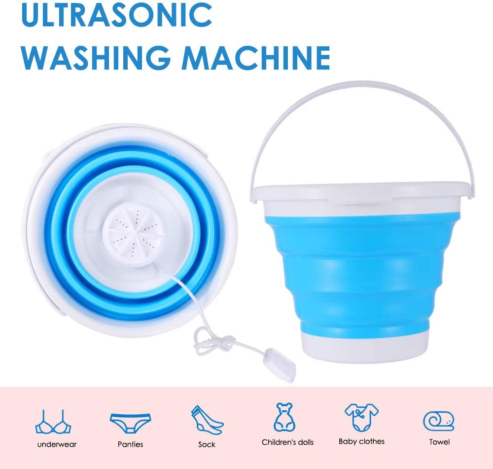 Kascoo 3 in 1 Turbo Washing Machine Foldable Tub Mini USB 1KG Laundry Washer Weight with 99.98 Sterilization Capacity for Travel Water-Saving and Energy-Saving