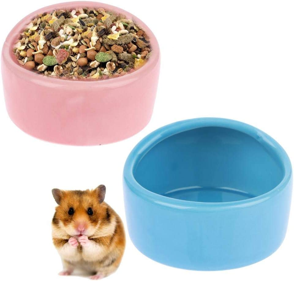 Ceramic Hamster Food Bowl Chew-Resistant Pet Dish No Spill No Turnover Hamster Feeding Bowls Cute Small Animals Dishes Food&Water Bowl Pet Cage Feeder for Bunny Mouse Guinea Pig Hedgehog,Pet Supplies