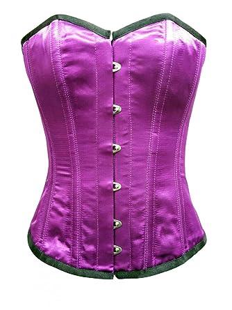 CorsetAttire Plain Purple Satin Waist Cincher Overbust Corset Top at ... 663e8a4b2d9