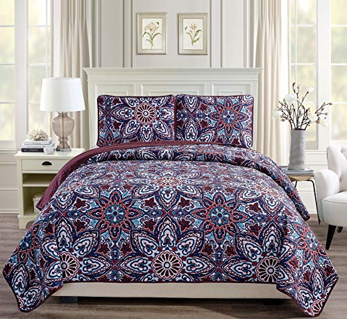 Fancy Linen 3pc King/California King Bedspread Quilt Set Over Size Bed Cover with Flowers Burgundy Navy Blue Teal Red White New