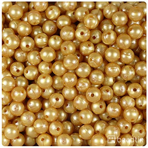 BEADTIN Gold Pearl 8mm Smooth Round Craft Beads (300pc) - Gold Pearl Beads