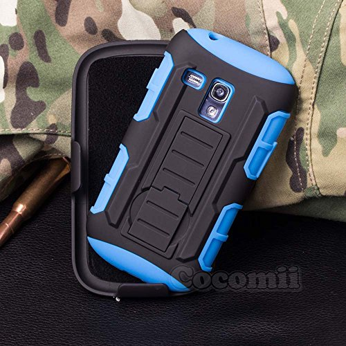 Galaxy S3 Mini Case, Cocomii Robot Armor NEW [Heavy Duty] Premium Belt Clip Holster Kickstand Shockproof Hard Bumper Shell [Military Defender] Full Body Dual Layer Rugged Cover Samsung I8190 (Blue) (Mini S3 Cases)
