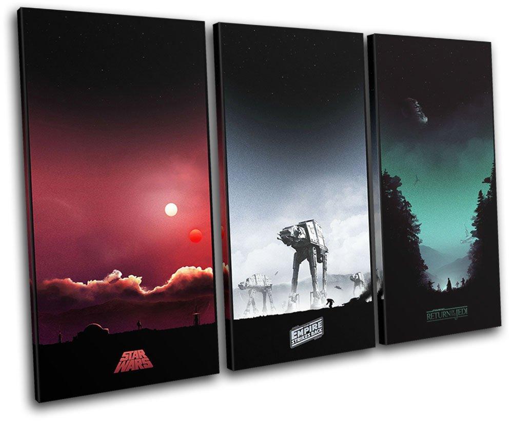 Bold Bloc Design Design Bloc - Star Wars Trilogy Posters Movie Greats 150x100cm TREBLE Leinwand Kunstdruck Box gerahmte Bild Wand hangen - handgefertigt In Grossbritannien - gerahmt und bereit zum Aufhangen - Canvas Art Print d05adf