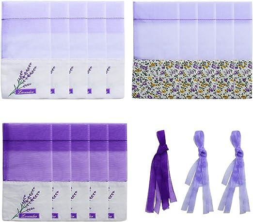 SPTwj 15 Piezas Bolsita de Lavanda Bolsa de Perfume púrpura vacía Bolsa vacía Bolsa de Lavanda con Estampado de Flores 7X 15cm: Amazon.es: Hogar