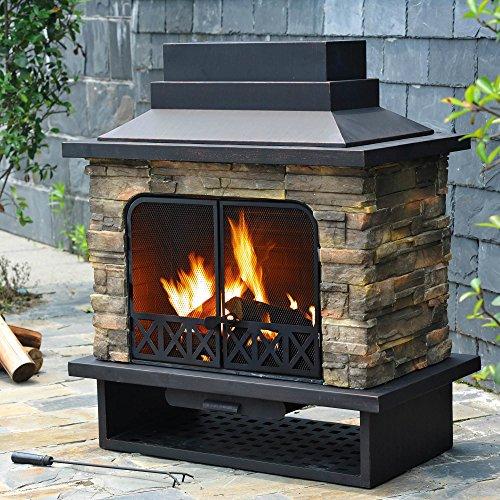 Outdoor Fireplace Faux Stone Steel Wood Burning Modern Portable for Garden Patio Yard