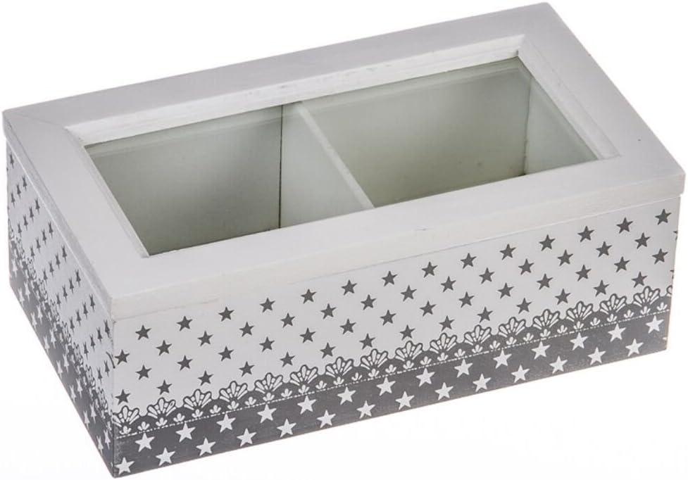 Art Deco Home - Caja Te Madera Blanca 18 cm - 15459NH: Amazon.es ...