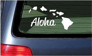 Aloha with Hawaii Island Chain Decal Sticker - White Vinyl Window Hawaiian Islands