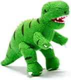 Knitted Dinosaur Soft Toy T Rex Rattle. Suitable from Birth.
