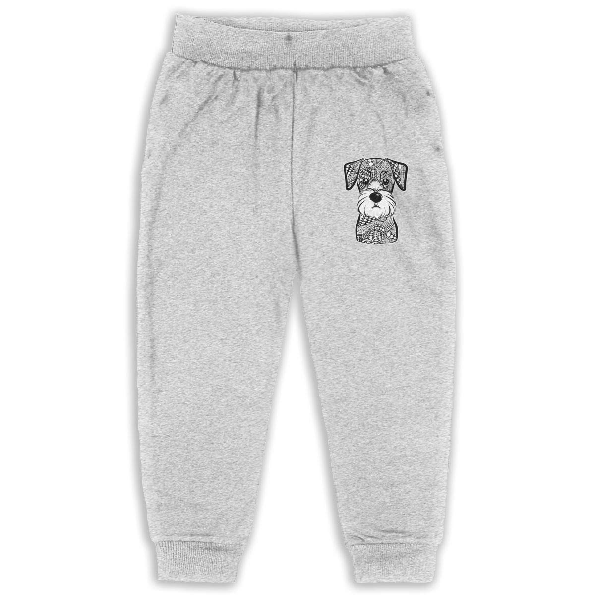 LFCLOSET Hr Mini Schnauzer Dog Children Active Jogger Sweatpants Basic Elastic Sport Pants Gray
