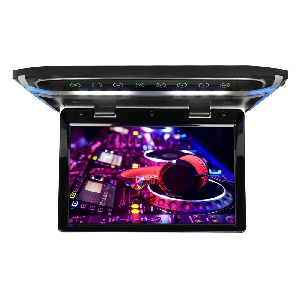 CarThree 10.1Inch Flip Down Monitor 1080P HD TFT LCD Roof Mount DVD Players Ultra Thin Overhead DVD Player for Car HDMI SD MP3 MP4 LED